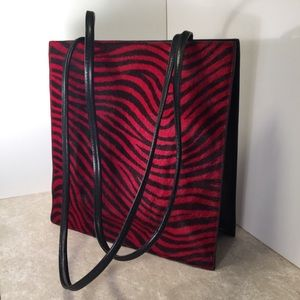 Pelle Studio Leather Red black zebra print purse